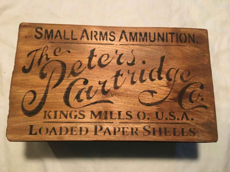 Antique Primitive Style Peters Cartridge Co. Wood Crate Box Advertising Decor