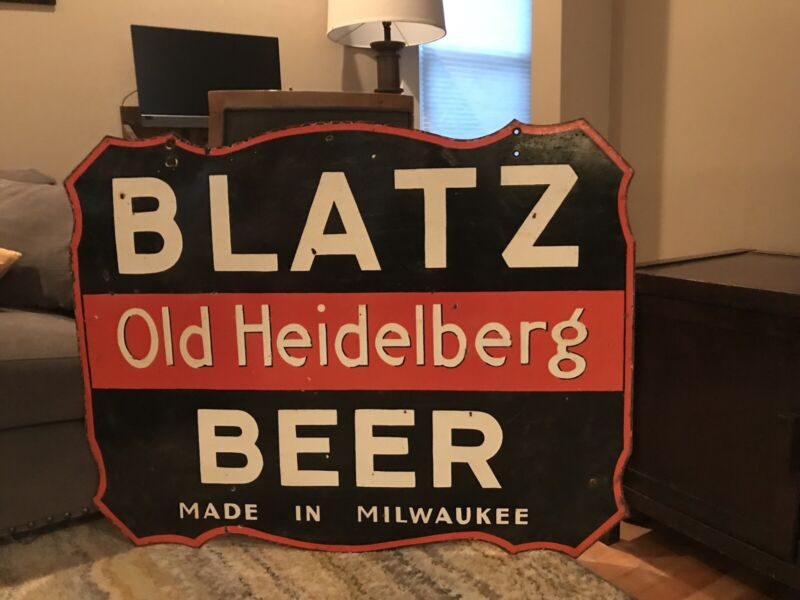 Large Original Blatz Beer Double Sided Porcelain Sign