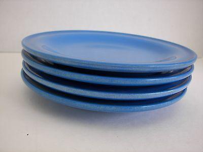 Vtg 4 Mid Century Blue Melmac Melamine Salad Plates General American Plastic