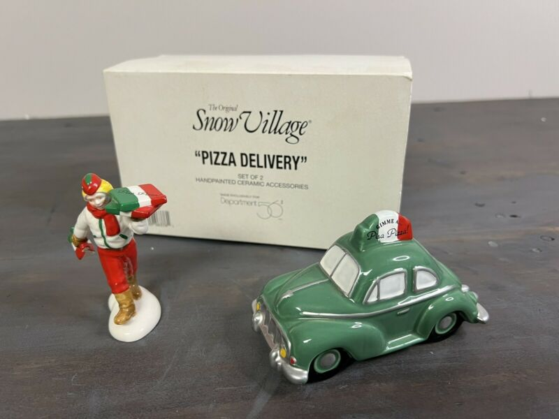 Department 56 Christmas Snow Village Pizza Delivery Set Of 2