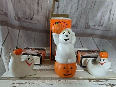 Ceramic Ghost with Pumpkin Candle Holder Hand Painted Porcelain Halloween Decor