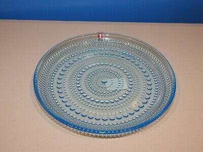 iittala Glass Kastehelmi  Plate 17cm, Discontinued Light Blue