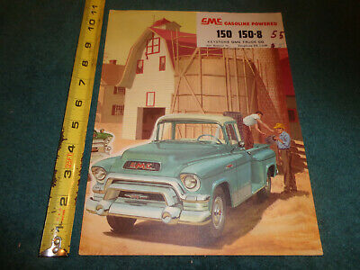 1955 GMC 3/4 TON TRUCK SALES FOLDER / ORIGINAL DEALER BROCHURE PICKUP & MORE!
