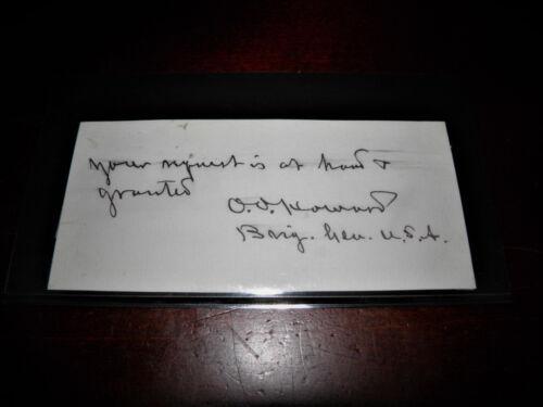 Wartime Signature And Rank Brig. General Oliver O. Howard Civil War US