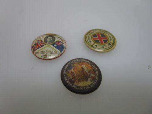 Lot of 3 Antique World War 1 WWI Era Australian Pin Back Buttons (AD)