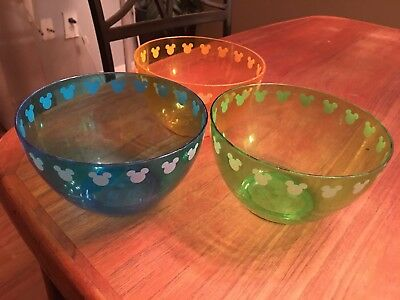 Disney Parks Color Fusion Mickey Icon Set of 3 bowls Plastic