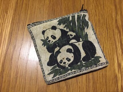 Square coin purse with panda print