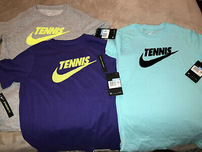 Lot Of 3 New Nike Junior Court Dri-Fit Cotton Graphic Tennis Tee Size M