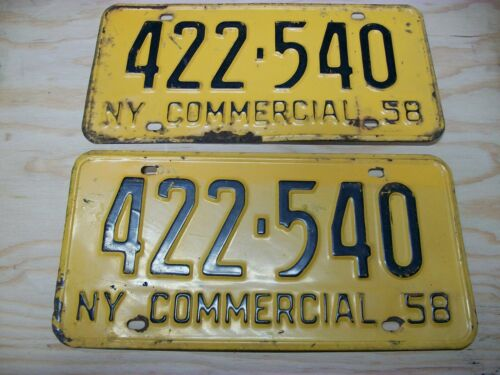 1958 NEW YORK LICENSE PLATES COMMERCIAL