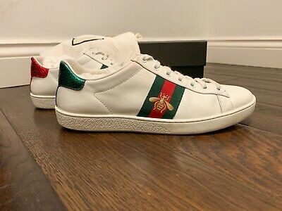 Gucci White Leather Ace Embroidered Low-Top Sneaker (IT39/UK6)