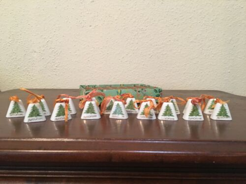 "Vintage Japan Porcelain Christmas Bells Ornament 1"" Box of 18"