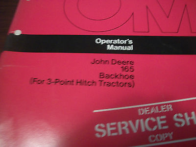 John Deere Tractor Operators Manual 165 Backhoefor 3-point Hitch Tractors