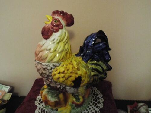 LARGE Rooster Cookie Jar Colorful