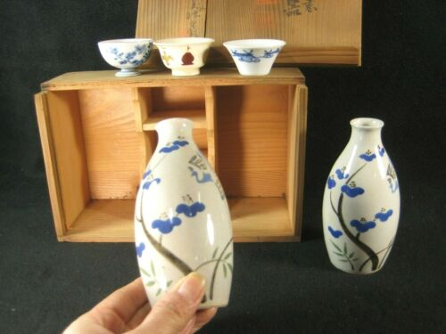 ANTIQUE JAPANESE SET OF 5 SIGNED CERAMIC SAKAZUKI & TOKKURI SAKE SET PHOENIX