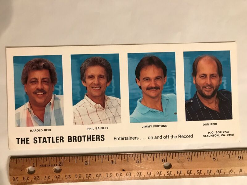 Vtg The Statler Brothers Country Music Complex Staunton VA Promo Photo Card 80s?