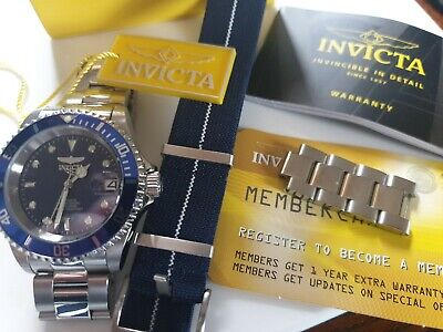 Invicta Pro Diver Automatic Blue Dial Stainless Steel Bracelet + Nato 90940
