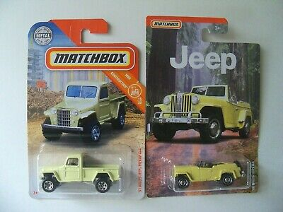 MATCHBOX LOT OF TWO JEEP '48 WILLYS JEEPSTER AND '51 WILLYS PICKUP 4X4  HTF NIP