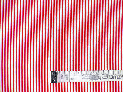 Vintage cotton fabric remnants white red stripes print
