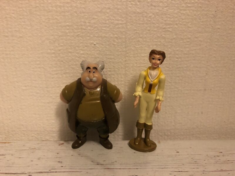 Disneys Beauty and The Beast ~ Belle & Maurice  Mini Figures x 2 as Shown
