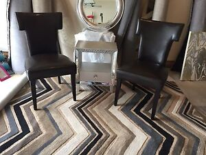 Pair of brown accent chairs