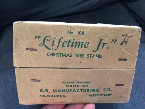 Vintage LIFETIME JR #108 Christmas Tree Stand w/ Box METAL SB Manufacturing Co