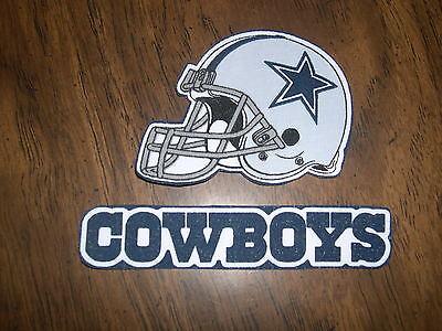 "Dallas Cowboys  Iron on Cotton Patch (2) 4 1/2"" x 1"" & 3 1/4"" x 2 1/2"""" NEW"