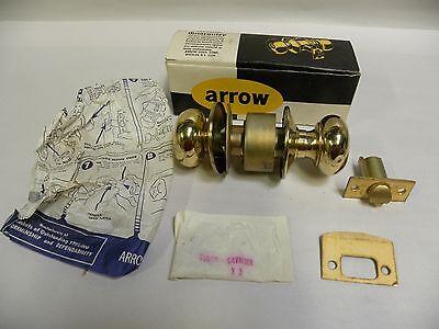 Vintage Arrow Tudor Style 151F Brass Cylinder Entrance Lockset Door Knob (C10)