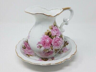 Vintage Norcrest Fine China Gold Trimmed Floral Pitcher & Basin Set L-372