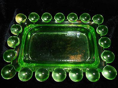 Jam Tray - Vaseline glass candlewick pattern Candy Soap jam tray dish uranium green butter