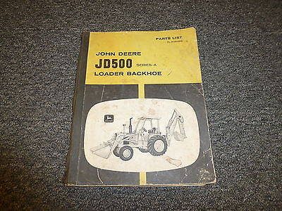 John Deere 500a Loader Backhoe Parts Catalog Manual Plr46496