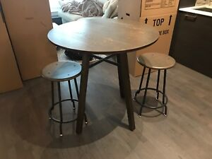 Crate and barrel high top table and 2 stools