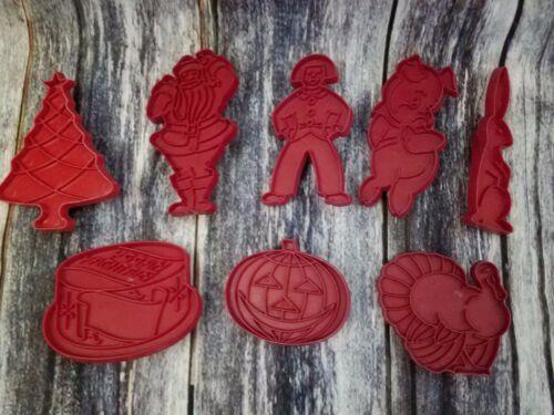 VTG Tupperware Cookie Cutters Red set 8 Holiday Birthday Cake Turkey Pig Santa