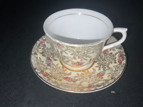 BONE CHINA CUP & SAUCER BY COLCLOUGH GOLD CHINTZ PINK ROSES