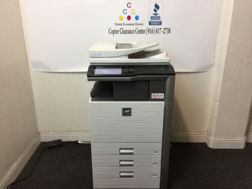 Sharp Mx-m453n Color Copier Printer Scanner Fax Staple Finisher Low Meter 29k