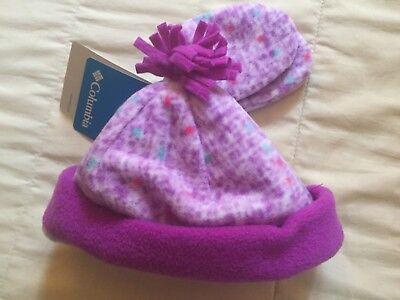 Columbia Fireside Cuddle Set Infant Girl Fleece Hat Mittens Purple Print NWT  Infant Fleece Mittens