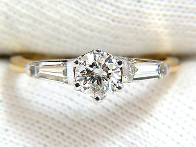 GIA CERTIFIED .81CT ROUND CUT DIAMOND RING BAGUETTES 14KT H/SI+ 9