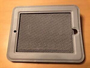 Griffin grey leather iPad cover for car headrest.