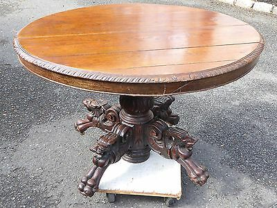 "Gothic Solid Oak 45""x40""x29"" Table Lion Heads & Claw Feet Over 200 Years Old"