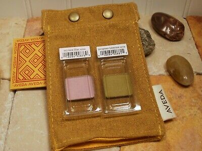 Aveda Eye Color Shadow Set New Lilac Purple & Green Tuberose + Aveda Bag ~ Pouch