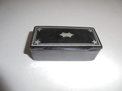 29358 Tabatiere Schnupftabakdose 19 Jh. 6,5x2,5,x3,5cm Pappe Lackarbeit snuffbox