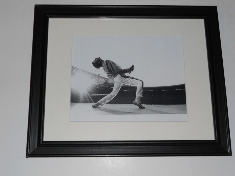 """Framed Queen Freddie Mercury 1986 on Stage Wembley Poster 14"""" by 17"""""""