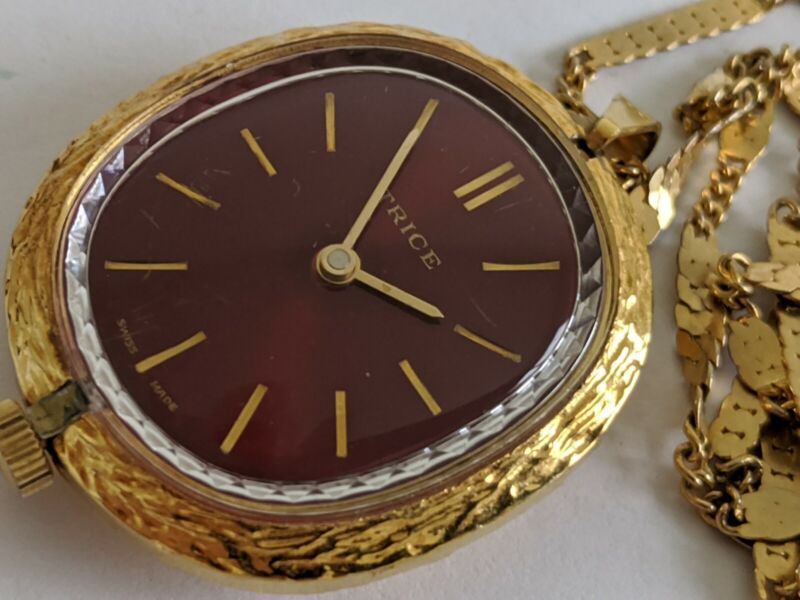 Vintage Trice Swiss Made Mechanical Red Face Watch Pendant Necklace It Runs