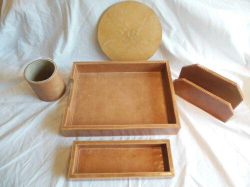 Pigeon & Poodle Leather Desk Accessories 5 ps. Set