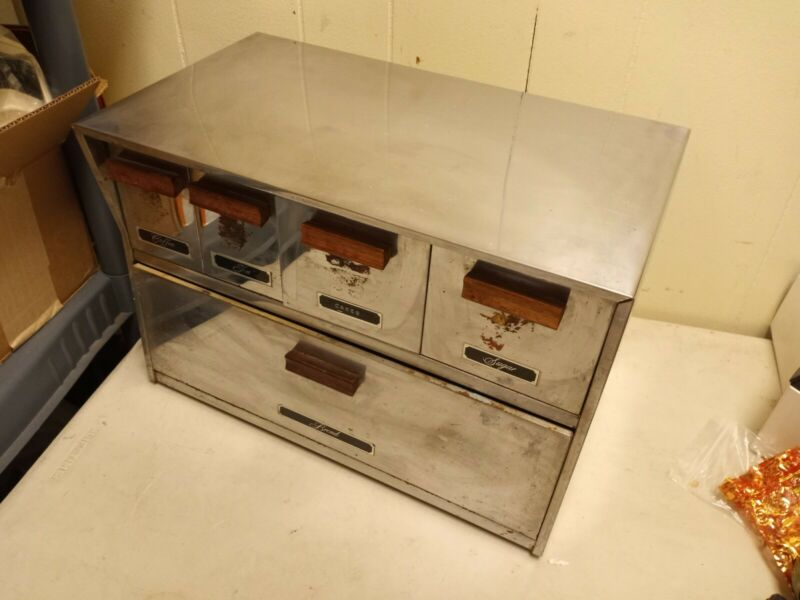 VINTAGE STAINLESS STEEL KRESTLINE BREADBOX W/ CANISTERS-SPECO, CHICAGO, ILL.USA