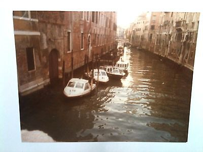 Vintage 80s Photo Venice Italy Small Boats In River Waiting At Dock