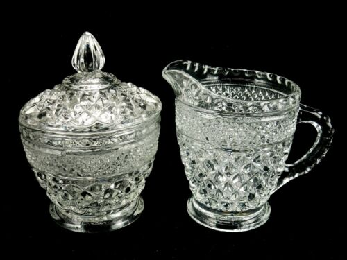 Vintage Sugar Bowl and Creamer - Wexford Diamond Pattern - Anchor Hocking Glass