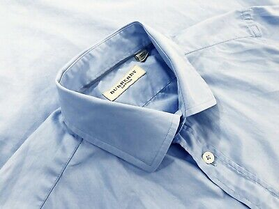 Burberry London Mens Long Sleeve French Cuff Button Up Dress Shirt Blue Size -