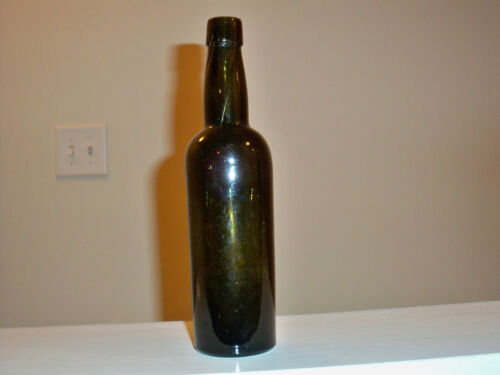 Hand Blown Black Glass Ale or Beer Bottle
