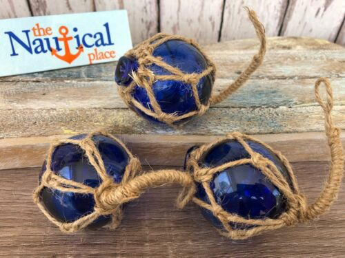 "(3) x 2"" Cobalt Blue Glass Fishing Floats - Fish Net Buoy Ball w/ Rope Netting"