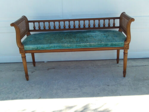 Vintage Antique Hollywood French Regency Cane Tufted Bench